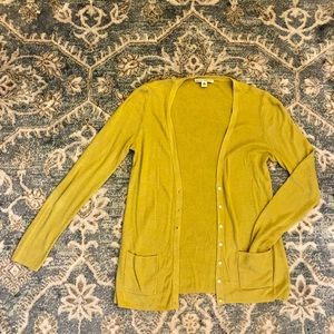 Chartreuse Banana Republic Linen Blend Cardigan